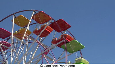 ferris wheel 02 - Ferris wheel with multicolored cabins in...