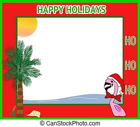 Red Holiday Frame w/a Pink Flamingo - Illustration of a red...