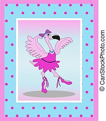 Dancing Flamingo Ballerina - Illustration of a dancing...