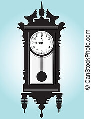 Grandfather clock clipart and stock illustrations 206 grandfather clock vector eps - Wall mounted grandfather clock ...