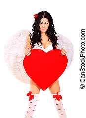 celebrate valentine - Sexual young woman angel posing with...