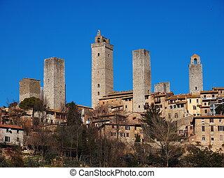 San Gimignano, Tuscany, Italy - famous italian landmark,...
