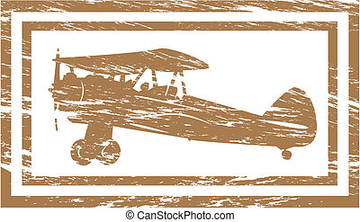 Plane in grunge rubber stamp effect.