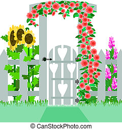 Garden gate - Illustration of a gate and trellis that enters...