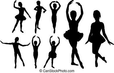 Ballet girls dancers silhouettes - Set of ballet girls...