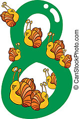 number eight and 8 snails - cartoon illustration with number...