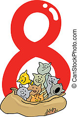 number eight and 8 cats