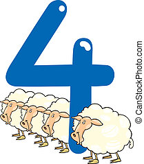 number four and 4 sheeps - cartoon illustration with number...