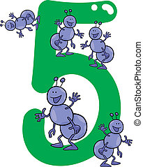 number five and 5 ants - cartoon illustration with number...