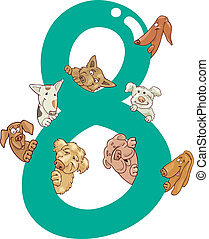 number eight and 8 dogs - cartoon illustration with number...