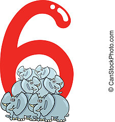 number six and 6 elephants