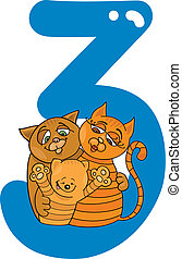 number three and 3 cats - cartoon illustration with number...