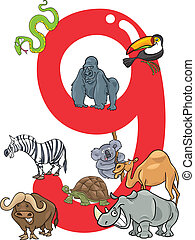 number nine and 9 animals - cartoon illustration with number...