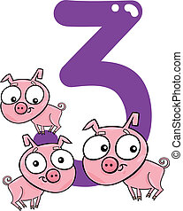 number three and 3 pigs - cartoon illustration with number...