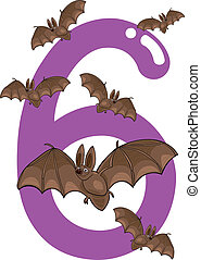 number six and 6 bats - cartoon illustration with number six...