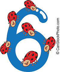 number six and 6 ladybug - cartoon illustration with number...