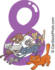 number eight and 8 cats - cartoon illustration with number...