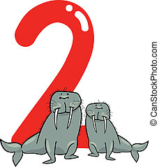 number two and 2 walruses - cartoon illustration with number...