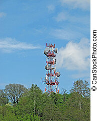 large Antenna and repeaters for the transmission of television and telephone signals