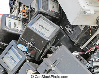 broken counters electricity demolished in a landfill for...