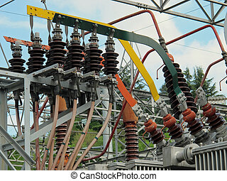 insulators and electrical cables and switches to an electric...