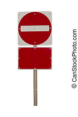 blank Wrong way red sign isolated on white - Wrong way red...