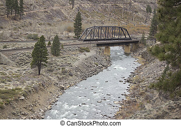 Railroad bridge over the Truckee rever in California