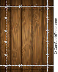 Wooden texture with barbed wire. Illustration.