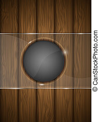 Wooden background with glass. Vector illustration.