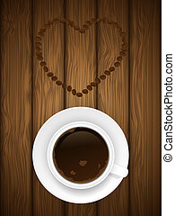 Coffe cup on wooden background. Vector illustration.