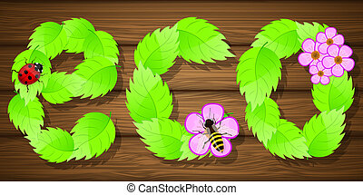 Eco background with flowers. Vector illustration.