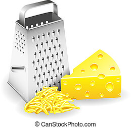 Grater and Cheese - A piece of cheese grater and grated...