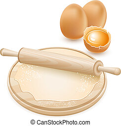 dough - Dough and rolling pin on a wooden board. Raw chicken...