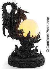 lámpara, forma, dragón