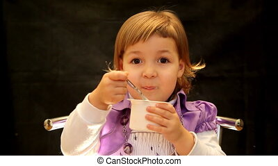 dessert cheese - girl eating a dessert cheese