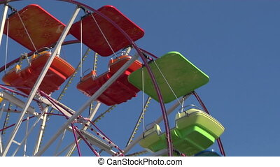 ferris wheel 03 - Ferris wheel with multicolored cabins in...
