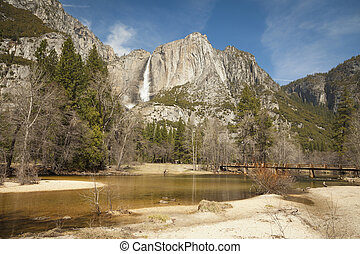 Upper Falls and Merced River at Yosemite on a Spring Day
