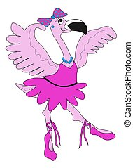 Ballerina Flamingo - Illustration of a dancing ballerina...
