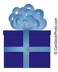 Blue Wrapped Present - Illustration of a present wrapped in...