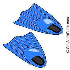 Pair of Blue Flippers - Illustration of a pair of blue...