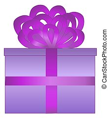 Purple Wrapped Present - Illustration of a present wrapped...