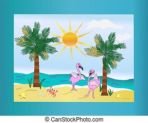 Beach Scene with Two Flamingoes