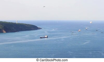 Ships at Black Sea - Cargo container ship line in to...