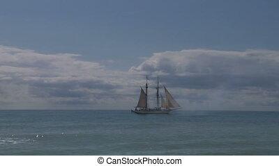schooner cannon 01 - Schooner fires a cannon