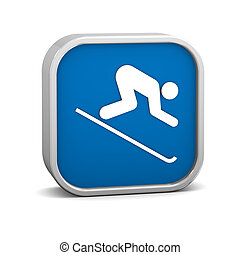 Downhill skiing sign on a white background. Part of a...