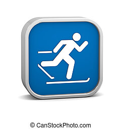 Cross country skiing sign on a white background Part of a...