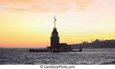 Maidens Tower - Maiden Tower, Istanbul at sunset