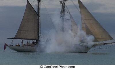 schooner cannon 03 - Schooner fires a cannon