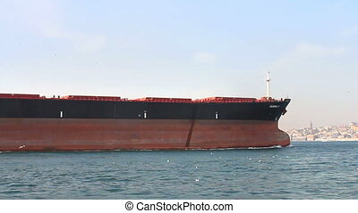 Tanker ship sails in the sea - Bow of the large oil tanker...