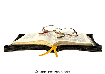 open book and glasses on White Background